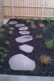 Natural Cut Bluestone Stepper path with mulch