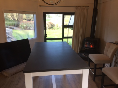 Dark Bluestone Honed finish Dining Table with timber frame