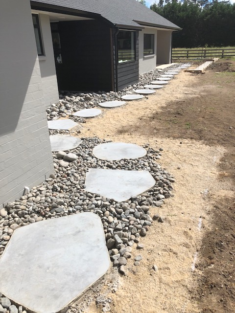 Natural Cut Bluestone Stepper path with river stones