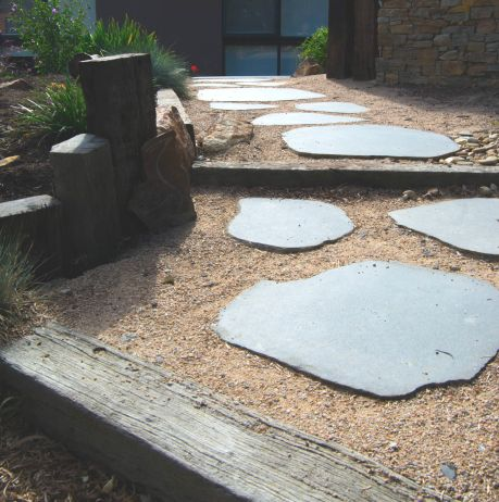 Natural Cut Bluestone Stepper Path with sand