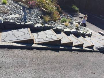 Lava Rock Crazy Paving Stairs