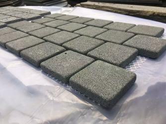 Dark bluestone Brickbond Pattern tumbled cobblestone on mesh