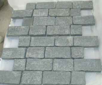 Black Basalt Antique Pattern Cobblestone on mesh