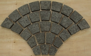 Black Basalt Black Basalt Cobbles - Fan Pattern on meshFan Pattern cobbles on mesh