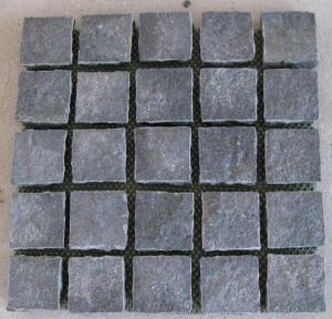 Black Basalt Cobbles - Straight set pattern, natural split on mesh