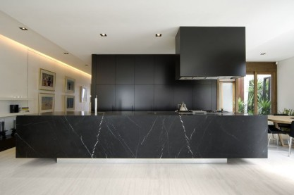 Nero Marquine Honed Waterfall Benchtop