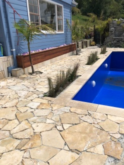 Coffee Travertine Crazy Paving and Pool Coping