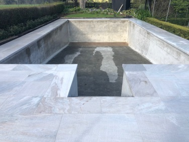 White Quartzite Dropface Pool Coping w matching paving