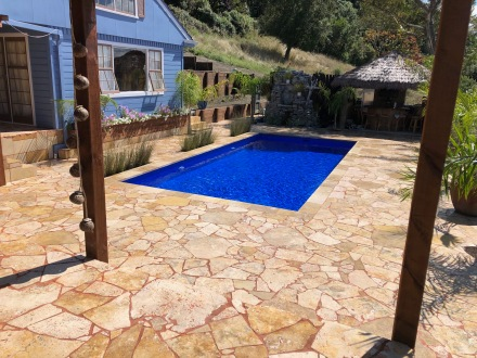 Coffee Travertine Crazy Paving - sealed with enhancing sealer