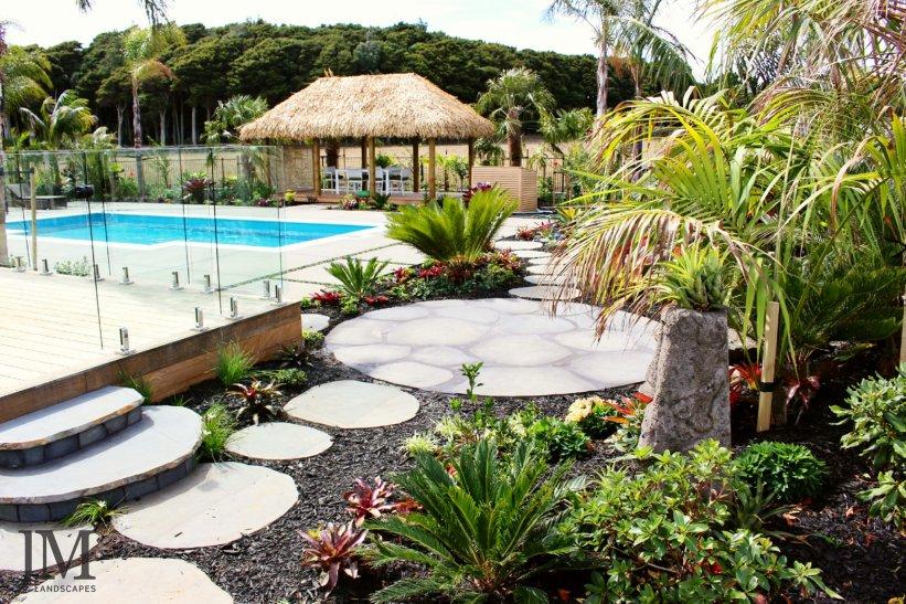 JM Landscapes steppers with Cabana