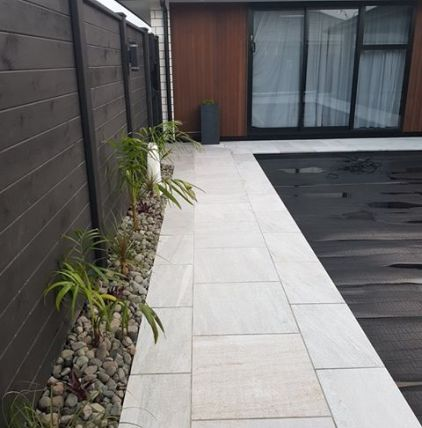 White Quartzite Square Edge with matching paving