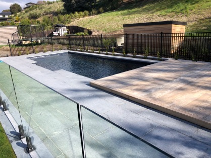 Grey Granite Dropface coping with matching paving